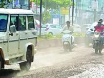 रत्नागिरीच्या रस्त्यांवरील खड्ड्यांबरोबरच आता धुळीचा त्रास