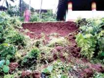 मंदिराची संरक्षक भिंत कोसळली, चेंदवण-निरुखेवाडी येथील घटना