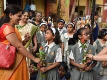 शाळेच्या पहिल्या दिवशी मुलांच्या स्वागतासाठी रांगोळी, तोरण बांधून शाळा सजली