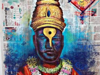 Ashadi Ekadashi Special; Vithu Mauli appeared on the page of 'Lokmat'   आषाढी एकादशी विशेष; 'लोकमत'च्या पानावर साकारली विठू माऊली