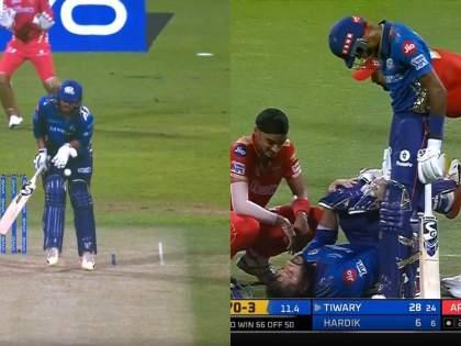 IPL 2021 , MI vs PBKS Live Updates : Arshdeep singh chucks the ball straight back at Saurabh Tiwary | IPL 2021 , MI vs PBKS Live Updates : सौरभ तिवारी थांब थांब म्हणत असतानाही अर्षदीप सिंगनं चेंडू फेकून मारला, MIचा फलंदाज कळवळला