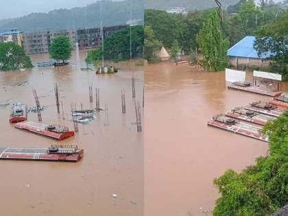 Chiplun Flood: Chiplun bus stand under water, trains carrying past, photo and video viral | Chiplun Flood: चिपळूण बस स्थानक पाण्याखाली, गाड्याही गेल्या वाहून, फोटो अन व्हिडिओ व्हायरल