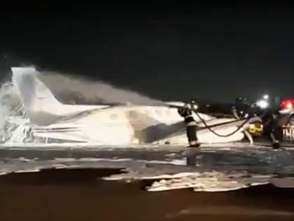 Emergency landing of a flight from Nagpur to Mumbai   Video : नागपूरहून उड्डाण केलेल्या विमानाचे मुंबईत इमर्जन्सी लँडींग