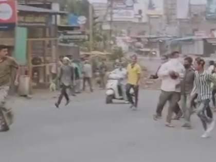 Mob attack on police in Sangamnera; Storm hurling | संगमनेरात पोलिसांवर जमावाचा हल्ला; तुफान दगडफेक