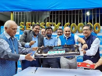 Sensex record above 60,000; Nifty also set a new record in the stock market | सेन्सेक्सचा विक्रम, ६० हजारांच्या पुढे; शेअर बाजारात दिवाळी, निफ्टीचाही नवा विक्रम