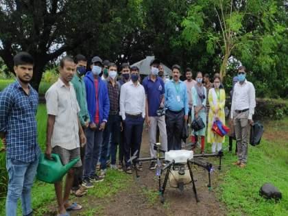 Technology of pesticide spraying by drone Successful demonstration at the Agricultural Science Center at Kosbad Dahanu | ड्रोनद्वारे कीटकनाशक फवारणीचे तंत्रज्ञान; डहाणूच्या कोसबाड येथील कृषि विज्ञान केंद्रात यशस्वी प्रात्यक्षिक