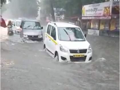 Heavy rains continue in Panvel; Flooding conditions prevailed in many places | पनवेलमध्ये पावसाचा जोर कायम;अनेक ठिकाणी पूरसदृश्य स्थिती निर्माण