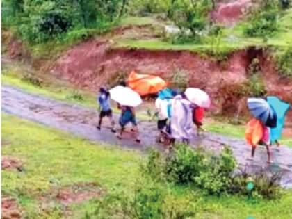 15 km trek in a bucket for delivery; The road in the dam valley was closed due to a landslide | प्रसूतीसाठी डोलीत बसवून १५ किमीचा पायी प्रवास; दरड कोसळल्याने धरण खोऱ्यात रस्ता बंद