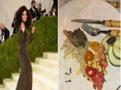 keke palmer shares photo of sad met gala food | Met Gala 2021: सेलिब्रिटींना डिनरमध्ये कोणते पदार्थ देतात माहितीये का?