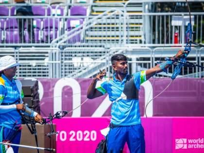 Tokyo Olympics Deepika Kumari Pravin Jadhav reach the quarter-final of Archery Mixed Team Event | Tokyo Olympics : मराठमोळ्या प्रवीण जाधवची दमदार कामगिरी, मिश्र सांघिक गटाच्या उपांत्यपूर्व फेरीत प्रवेश; पदकाची आशा कायम
