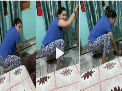 Haryanvi Queen Sapna Choudhary cleaning floor on her latest song video goes viral | फरशी साफ करतेय 'हरयाणवी क्वीन' सपना चौधरी, डान्स व्हिडीओ प्रमाणे हा व्हिडीओही होतोय प्रचंड व्हायरल