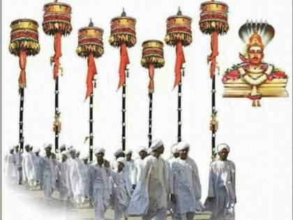 Participating in the procession of 68 genders who carried the Nandi flag till long | लांब पल्ल्यापर्यंत नंदीध्वज पेलणारेच ६८ लिंगांच्या मिरवणुकीत सहभागी