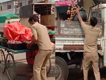 Video: The Son took action against the mother who broke the rules of Lockdown in Ahmadnagar Pathardi | Video: कर्तव्यनिष्ठेला सलाम! नियम मोडणाऱ्या भाजीविक्रेत्या आईवरच मुलानं केली कारवाई