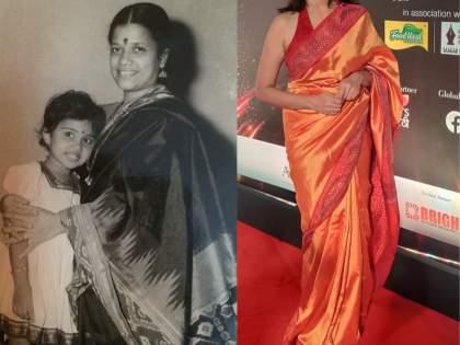Amruta subhash share childhood pic with her mother   मराठी चित्रपटसृष्टीवर आज ही चिमुकली करतेय राज्य, ओळखा पाहू कोण आहे अभिनेत्री