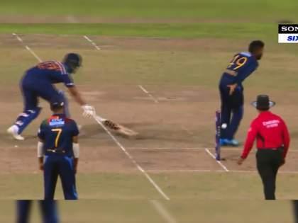 India vs SL 2nd T20I live : Wanindu Hasaranga attempt an MS Dhoni, Watch Video   IND Vs SL 2nd T20I Live : वनिंदू हसरंगानं केली महेंद्रसिंग धोनीची 'कॉपी'?; पाहा भन्नाट व्हिडीओ..
