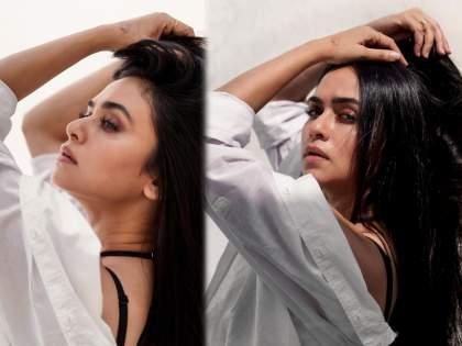 Amrita khanwilkar did glamorous photo in a white shirt   व्हाइट शर्टमधील अमृता खानविलकरचे ग्लॅमरस फोटो पाहून विसराल मलायका अरोराला, पहा फोटो