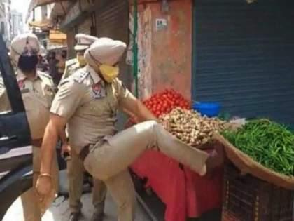 Cruelty of Punjab police during Corona period, SHO kicked the basket of poor vegetable seller, and ....   Video : पंजाब पोलिसांचे क्रौर्य, एसएचओने गरीब भाजी विक्रेत्याच्या टोपलीवर मारली लाथ, आणि....