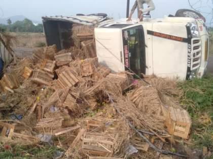 The tempo of the mango overturned on the highway; two injured   आंब्याचा टेम्पो महामार्गावर झाला पलटी; चालकासह दोघे जखमी