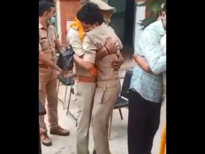 Video: Police hugged superior and the police cried loudly in uttar police | Video : वरिष्ठाला मिठी मारली अन् तो पोलीस ठसाठसा रडला