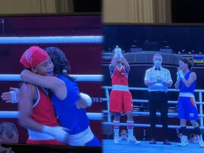 Tokyo Olympic : Quite sporting of Mary Kom to welcome the decision with a smile and hugging her opponent, see pics   Tokyo Olympic, Mary Kom : मेरी कोमनं पराभवही मोठ्या मनानं स्वीकारला, निकालानंतर दाखवलेल्या खिलाडूवृत्तीचे कौतुक!