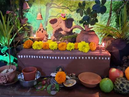 my nature, my bappa Unique concept of Jadhav family Dombivali in ganeshotsav | माझी वसुंधरा, माझा निसर्ग, माझा बाप्पा! डोंबिवलीतील जाधव कुटुंबियांची अनोखी संकल्पना