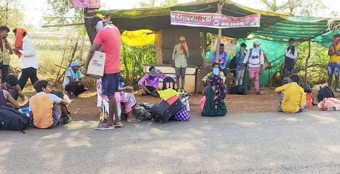 Hundreds of km of distance 'those' laborers traveled | Corona Virus in Gadchiroli; 'त्या' ३५ मजुरांचा शेकडो किमीचा पायीच प्रवास