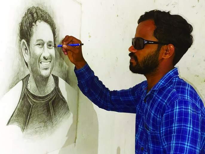 Jamgaon's blind artist overcomes paralysis; The walls of the houses are painted   जामगावच्या दृष्टीहीन कलाकाराची दिव्यांगावर मात; घरांच्या भिंती चित्रांनी केल्या बोलक्या
