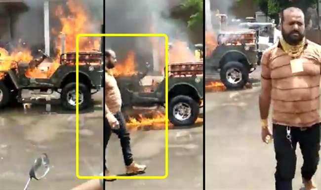 Gujtrat's gold man burnt his modified jeep to make a tik tok video; arrested | Video : Tik Tok च्या भानगडीत मॉडिफाईड जीपच पेटवली; तुरुंगाची हवा खाल्ली