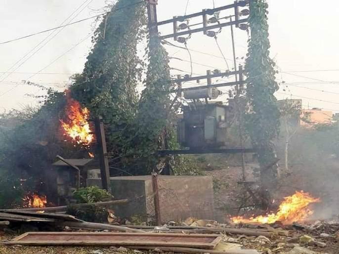 Fire in electricity dp near cidakot mandai | सिडकोत मंडईजवळील विद्युत डीपीला आग