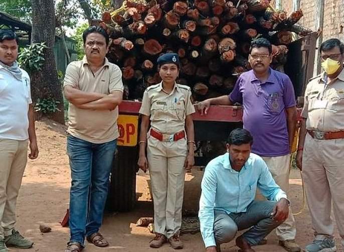 Unauthorized transport tractor seized in Gadchiroli | गडचिरोलीत इमारती फाट्यांची अनधिकृत वाहतूक करणारा ट्रॅक्टर जप्त