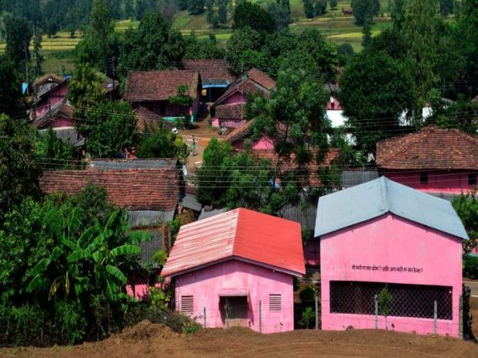 Gulabwadi village nuts with pink color   गुलाबवाडी गाव नटले गुलाबी रंगाने