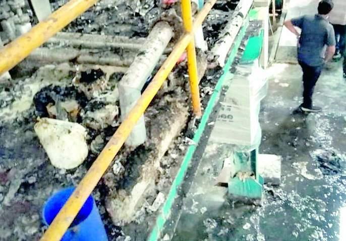 Fierce fire in Gimetex's clothing department; Loss of Rs. 90 lakhs | गिमाटेक्सच्या कपडा विभागात भीषण आग; ९० लाखांचे नुकसान