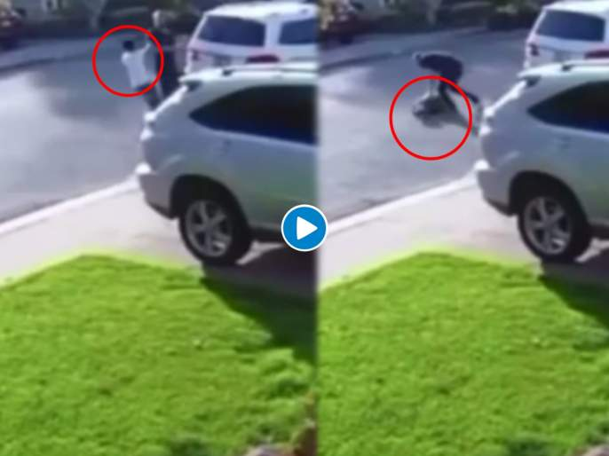 California robber getting body slammed by the person he was trying to rob see viral video   VIDEO : चोराने दाखवला बंदुकीचा धाक तर 'त्याने' केली जोरदार धुलाई, ओरडून ओरडून मागत होता माफी!