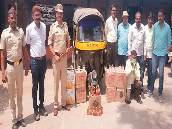 Alcohol wagons from rickshaws: 1 lakh 84 thousand items seized | रिक्षातून दारूची वाहतूक : १ लाख ८४ हजारांचा मुद्देमाल जप्त