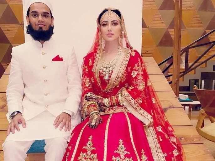 sana khan posts wedding picture after marriage with mufti anas | सना खानने शेअर केला 'निकाह'नंतरचा पहिला फोटो, म्हणून मुफ्ती अनससोबत केला 'निकाह'