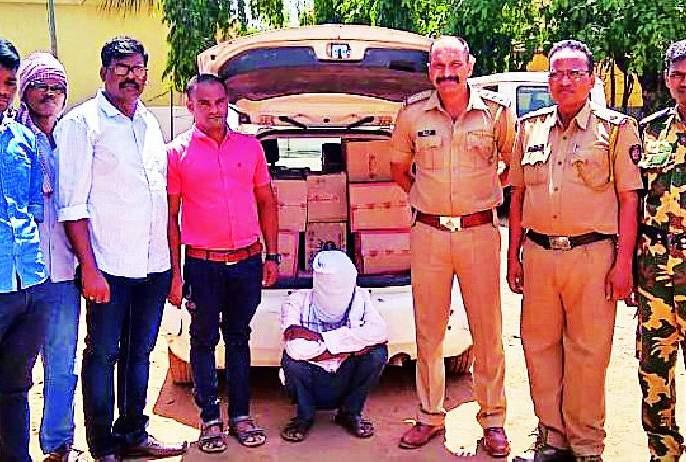 Three lakh liquor seized at DesaiGanj   देसाईगंज येथे तीन लाखांची दारू जप्त
