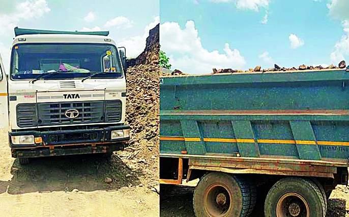 Pokland seized with five vehicles | पाच वाहनांसह पोकलॅँण्ड जप्त