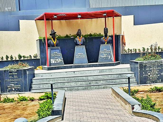 bad condition of hutatma persons statue in Rajgurunagar city   राजगुरुनगर शहरातील हुतात्मा स्मारकाची दुरवस्था