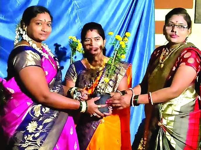 Environmental message from plant distribution in a program of Makar Sankranti | हळदी कुंकवांच्या कार्यक्रमात रोप वितरणातून पर्यावरणाचा संदेश