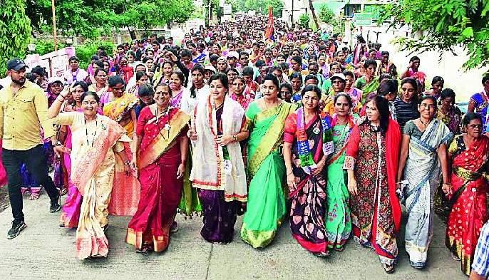Maharashtra Election 2019 ; Navneet Rana's hike | Maharashtra Election 2019 ; नवनीत राणा यांची पदयात्रा