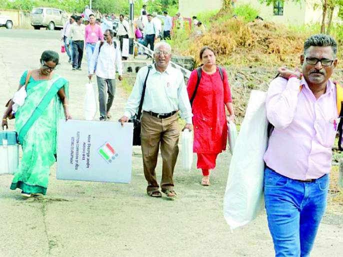 Maharashtra Election 2019 ; Leaving 'polling' parties with literature | Maharashtra Election 2019 ; साहित्य घेऊन 'पोलिंग' पार्ट्या रवाना
