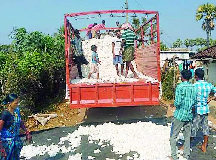 Robbery of farmers by merchants in buying cotton | कापूस खरेदीत शेतकऱ्यांची व्यापाऱ्यांकडून लूट