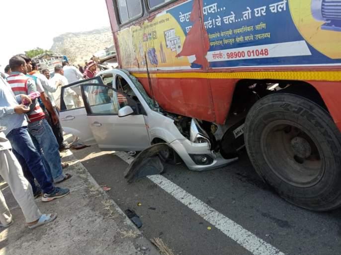 Three people of Wani killed in Chandavadanagika accident | नाशिकजवळ बस-कारच्या भीषण अपघातात एकाच कुटुंबातील तिघे ठार
