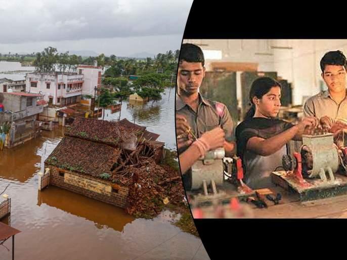 ITI students help with flood victims in kolhapur and sangli | Maharashtra Flood: शाब्बास पोरांनो... आयटीआयचे विद्यार्थी दूर करताहेत पूरग्रस्तांच्या घरातील अंधार!
