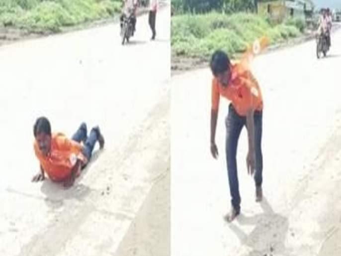 Worker laid down 3 kilometers for the leader's MLA | नेत्याच्या आमदारकीसाठी कार्यकर्त्याने घातले १८ किलोमीटर दंडवत