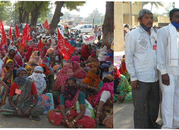 Demonstrations of Janandolan Sangharsh Samiti in Satana | सटाण्यात जनआंदोलन संघर्ष समितीची निदर्शने