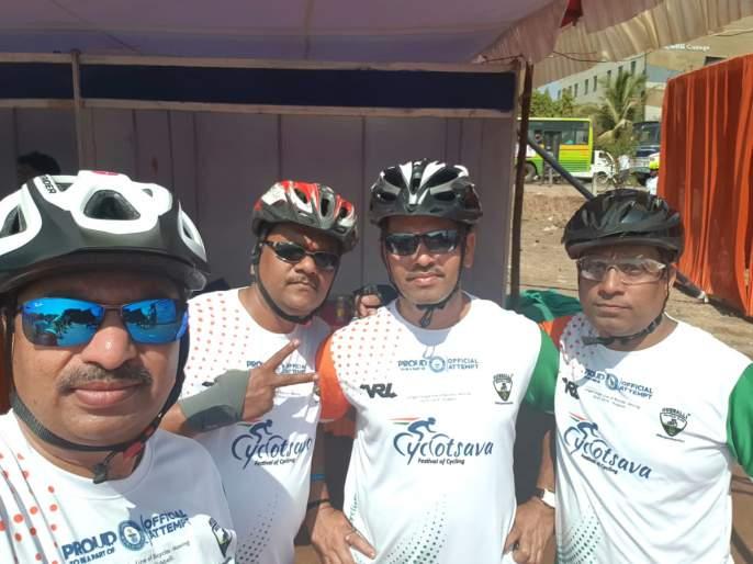 Fourth Cyclist in Kolhapur in the world record | विश्वविक्रमामध्ये कोल्हापुरातील चौघे सायकलस्वार