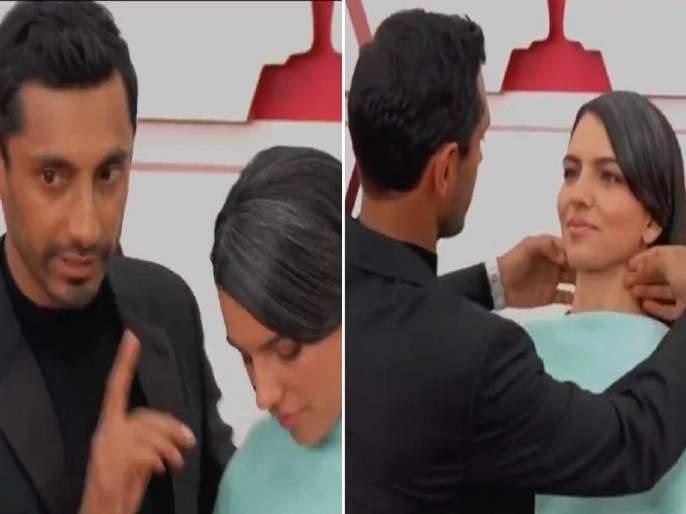 Oscars 2021: Fans love Riz Ahmed sweetly fixing his wife's hair on the Oscars red carpet | Oscars 2021: रिज अहमद बायकोच्या प्रेमात अन् चाहते त्याच्या प्रेमात! रेड कार्पेटवर कपलच्या केमिस्ट्रीची चर्चा!!