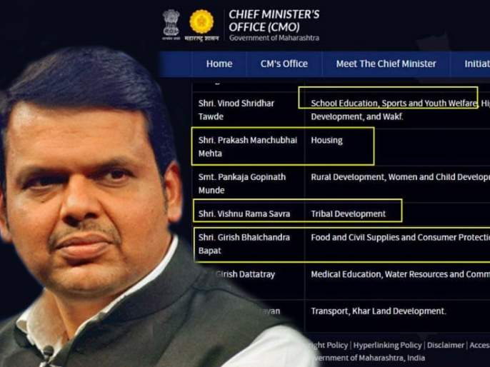 Old minister and old manager, CMO administration forgets 'Cabinet expansion' on CMO website of maharashtra | जुने मंत्री अन् जुनाच कारभार, CMO प्रशासन विसरलं 'मंत्रिमंडळ विस्तार'