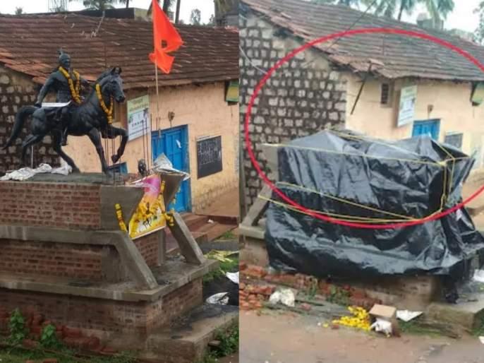 The statue of Chhatrapati Shivaji Maharaj was removed in Belgoan, Shiva-lovers got angry | रातोरात छत्रपती शिवाजी महाराजांचा पुतळा चौथऱ्यावरुन हटवला; मणगुत्तीमध्ये शिवप्रेमी संतापले